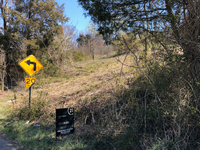 wooded lot on a slight incline with a for sale sign